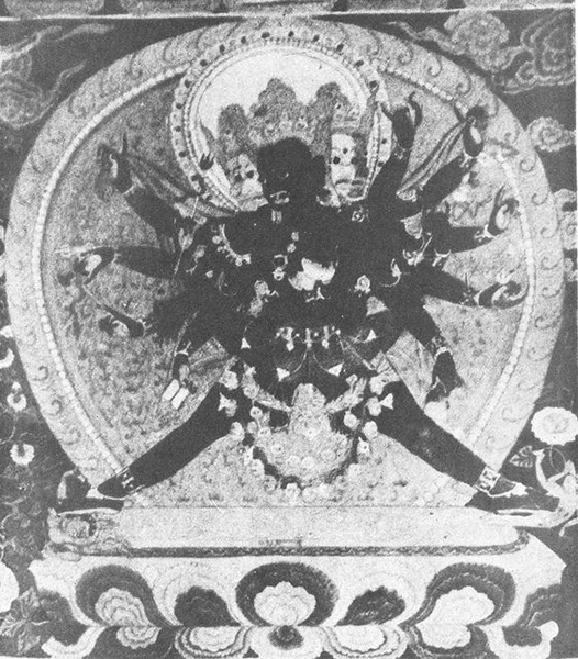 Mahasuka-daka dancing coupled with his Dakini. Mural painting. The dakini's legs are wrapped around the waist of the deity, whose legs, fully splayed, perform a tantric dance requiring extreme skill and control. 17th century, Tsaparang, Tibet. From Tucci, Indo-Tibetica lll.2, Reale Accademia d'Italia, 1935. Rome. Plate XXlll