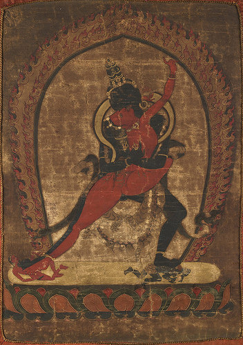 Chakrasambhava and Vajrayogini in yab-yum. Sajaha Tradition, date unknown. From Core of Culture. Note the very plain background. The arabesque of the yogini's body from toe to arm, the weight and sense of movement in the deity's lunging leg—these characterize dance. A delicate balance is attained between sensuous realism and iconographic stylization