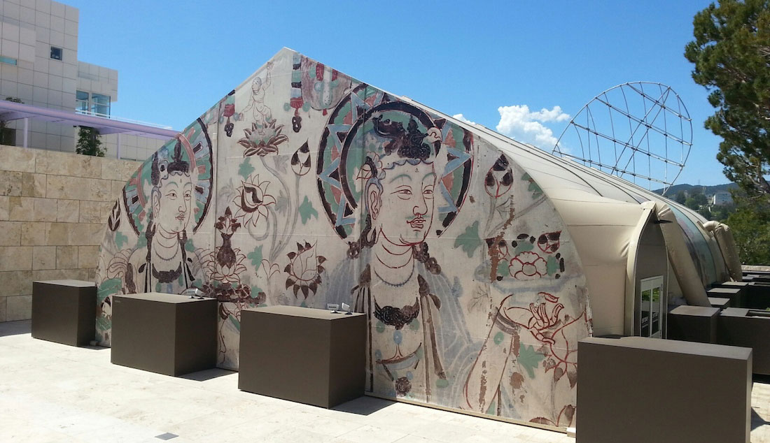 View of the temporary structure housing three replica Mogao Caves, Getty Center, Los Angeles. Photo by the author