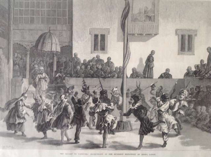 An engraving of the Hemis Monastery Cham festival, produced from a pencil drawing of the live event. 19th century, England. Courtesy of Hemis Monastery Museum. Nearly every aspect of the Cham dance is incorrectly recorded. That the Cham is circular is correct