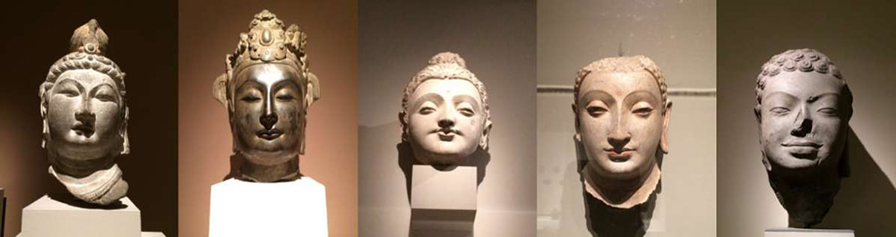 Some of the looted Buddha heads that have found their way to the Metropolitan Museum of Art in New York. Image courtesy of the author